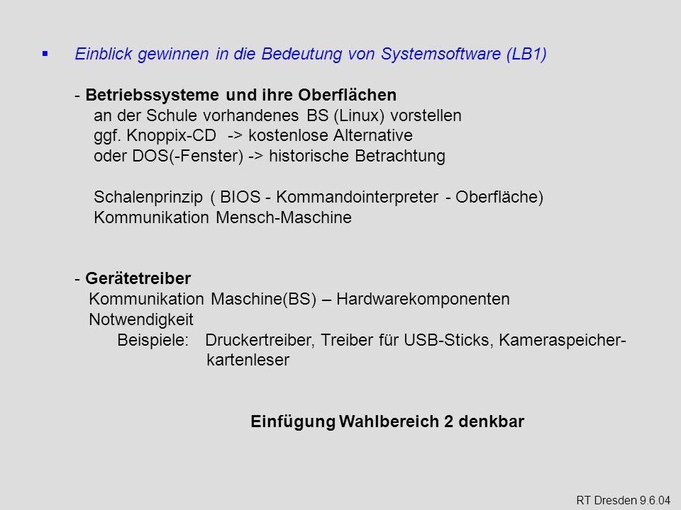 Einblick gewinnen in die Bedeutung von Systemsoftware (LB1)