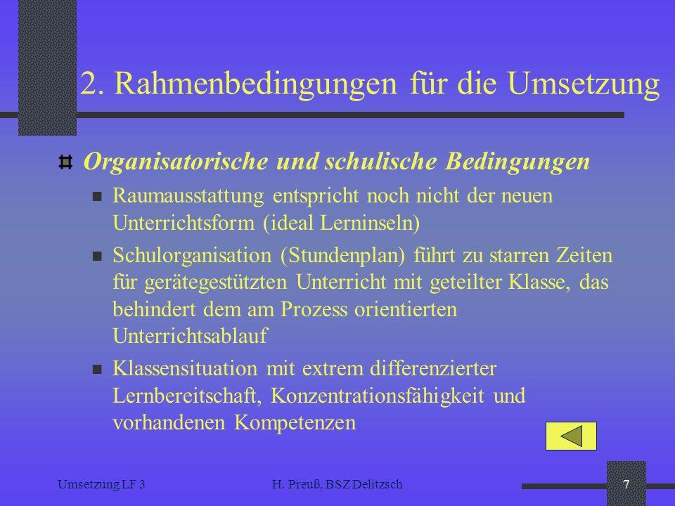 2. Rahmenbedingungen für die Umsetzung