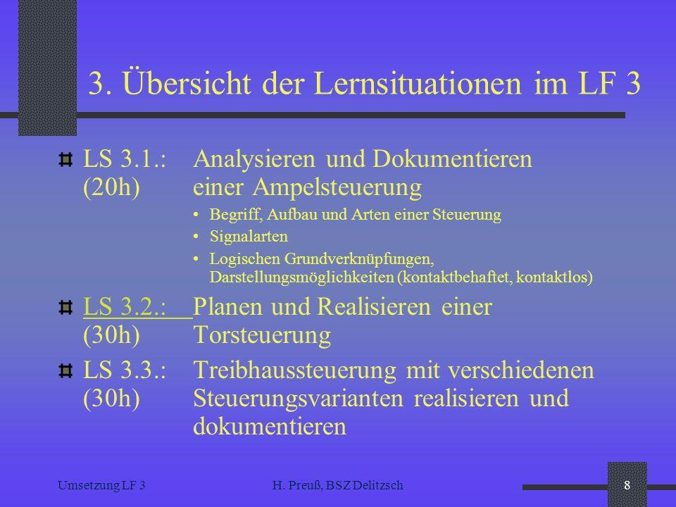 3. Übersicht der Lernsituationen im LF 3