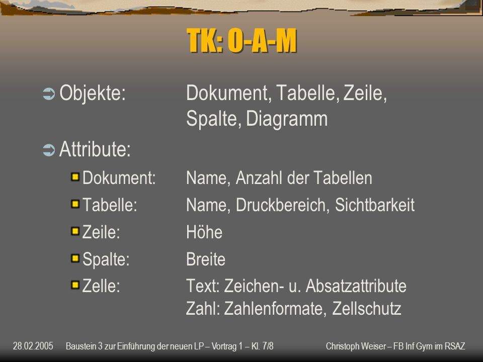 TK: O-A-M Objekte: Dokument, Tabelle, Zeile, Spalte, Diagramm