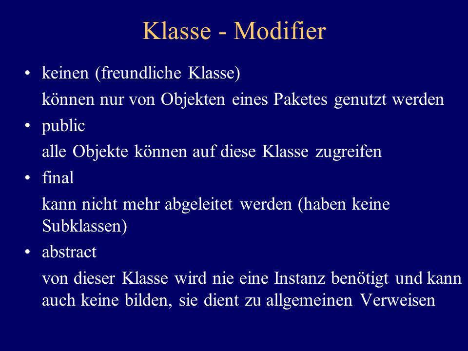 Klasse - Modifier keinen (freundliche Klasse)