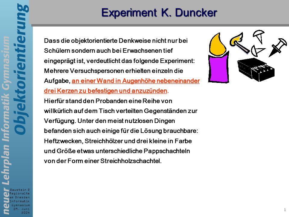 Experiment K. Duncker