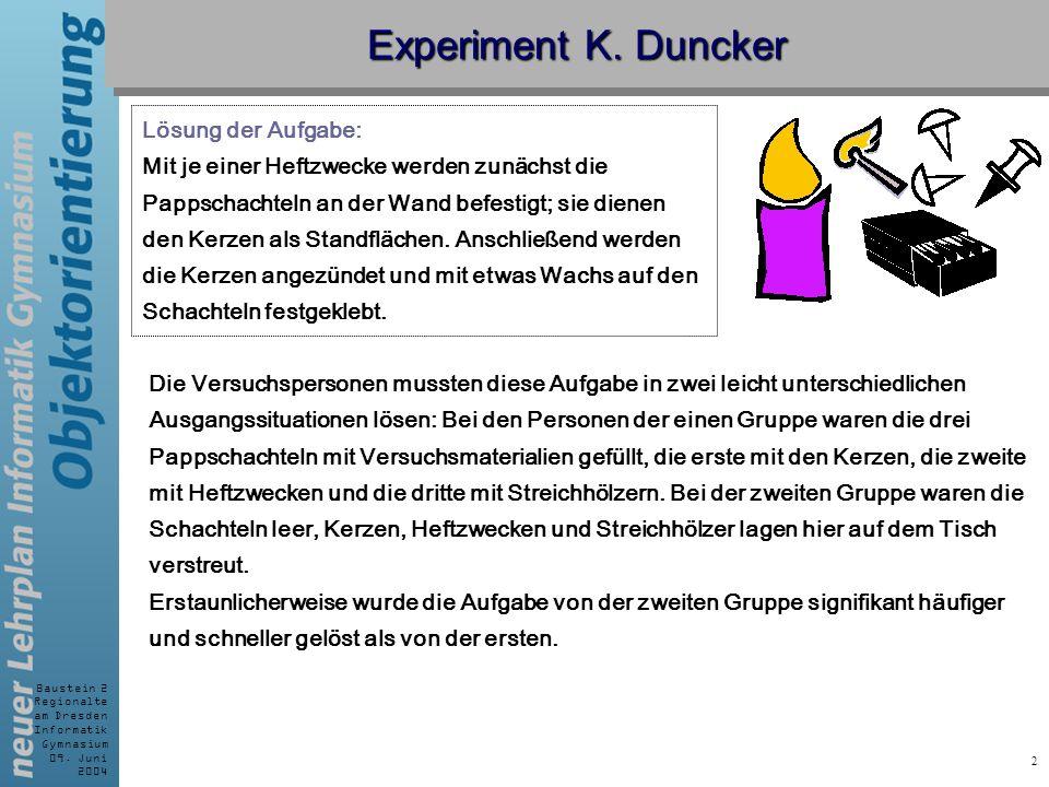 Experiment K. Duncker Lösung der Aufgabe: