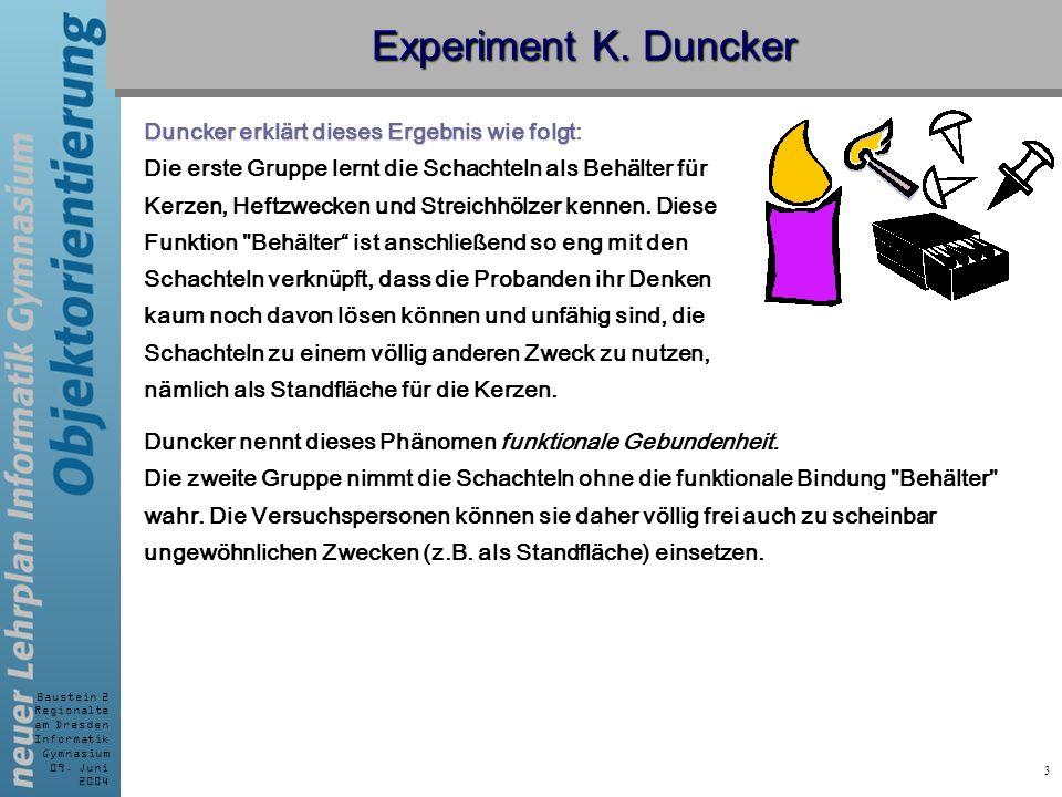 Experiment K. Duncker Duncker erklärt dieses Ergebnis wie folgt: