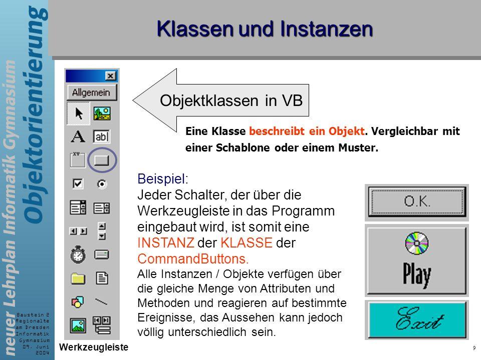 Klassen und Instanzen Objektklassen in VB Beispiel: