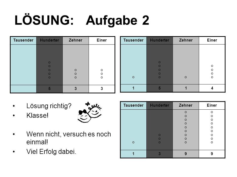 LÖSUNG: Aufgabe 2 Lösung richtig Klasse!