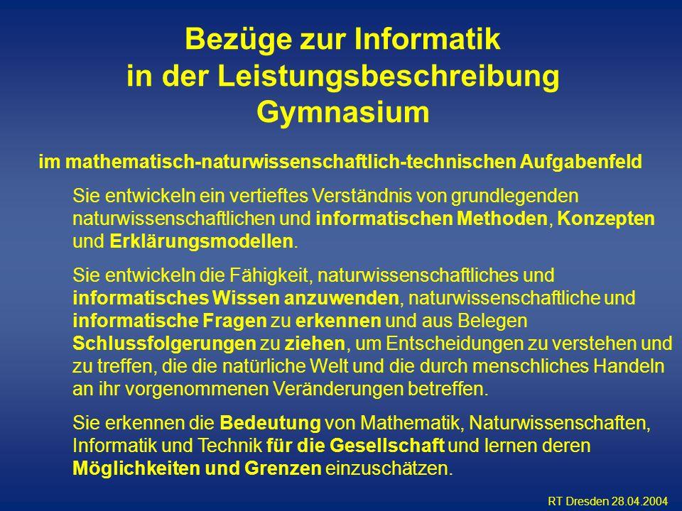 Bezüge zur Informatik in der Leistungsbeschreibung Gymnasium