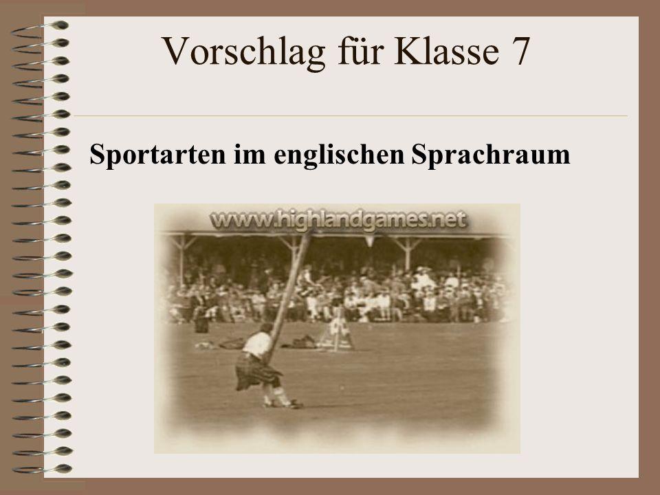 Vorschlag für Klasse 7 Sportarten im englischen Sprachraum
