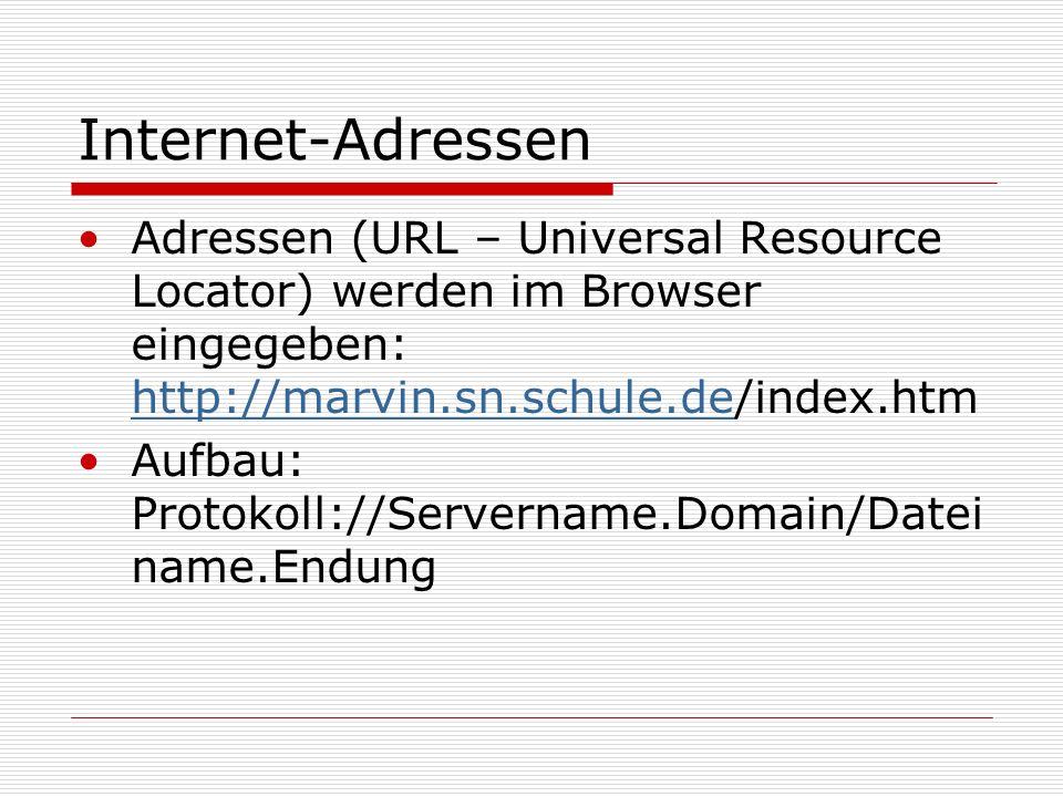 Internet-Adressen Adressen (URL – Universal Resource Locator) werden im Browser eingegeben: http://marvin.sn.schule.de/index.htm.