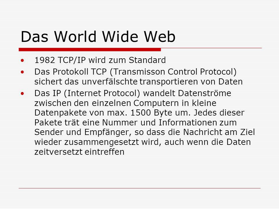 Das World Wide Web 1982 TCP/IP wird zum Standard