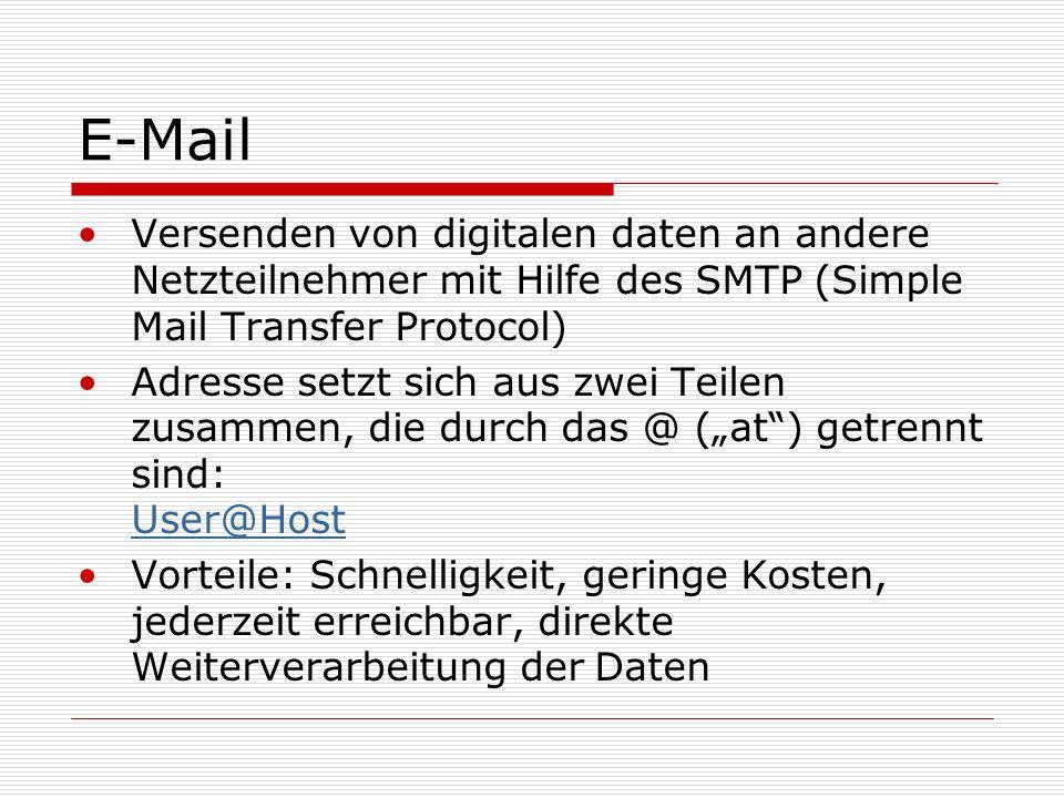 E-Mail Versenden von digitalen daten an andere Netzteilnehmer mit Hilfe des SMTP (Simple Mail Transfer Protocol)