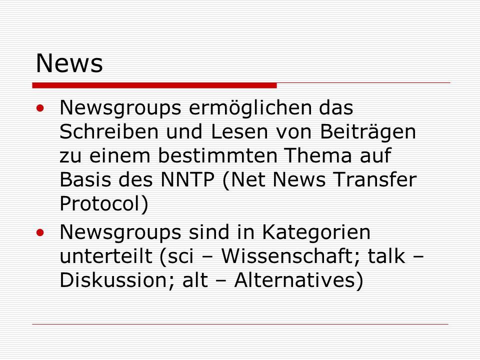 News Newsgroups ermöglichen das Schreiben und Lesen von Beiträgen zu einem bestimmten Thema auf Basis des NNTP (Net News Transfer Protocol)