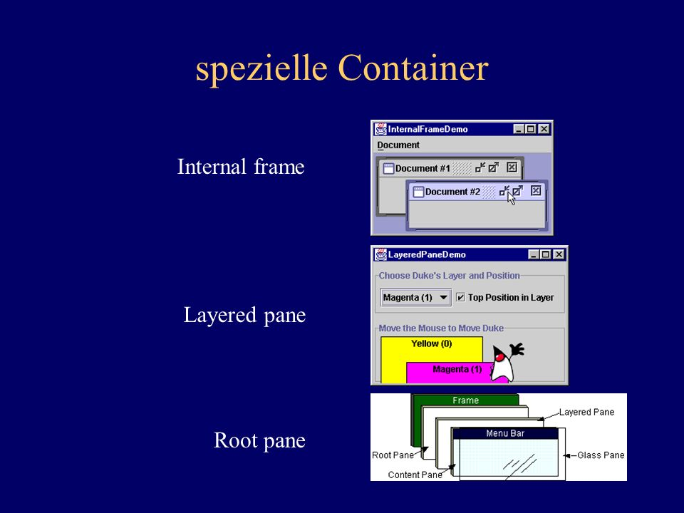 spezielle Container Internal frame Layered pane Root pane
