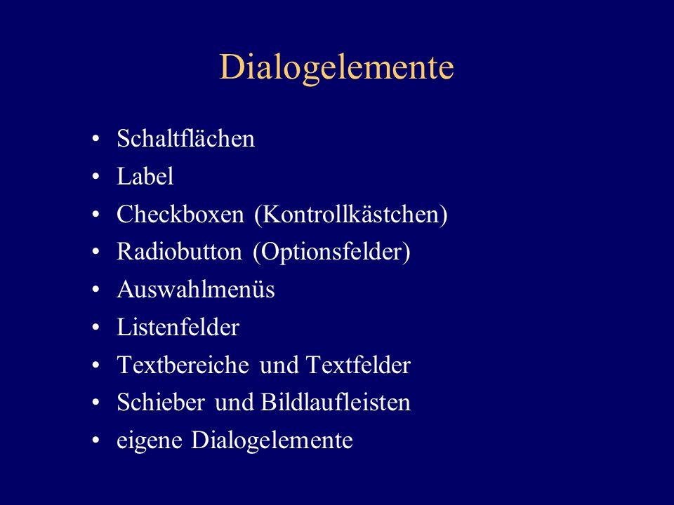 Dialogelemente Schaltflächen Label Checkboxen (Kontrollkästchen)