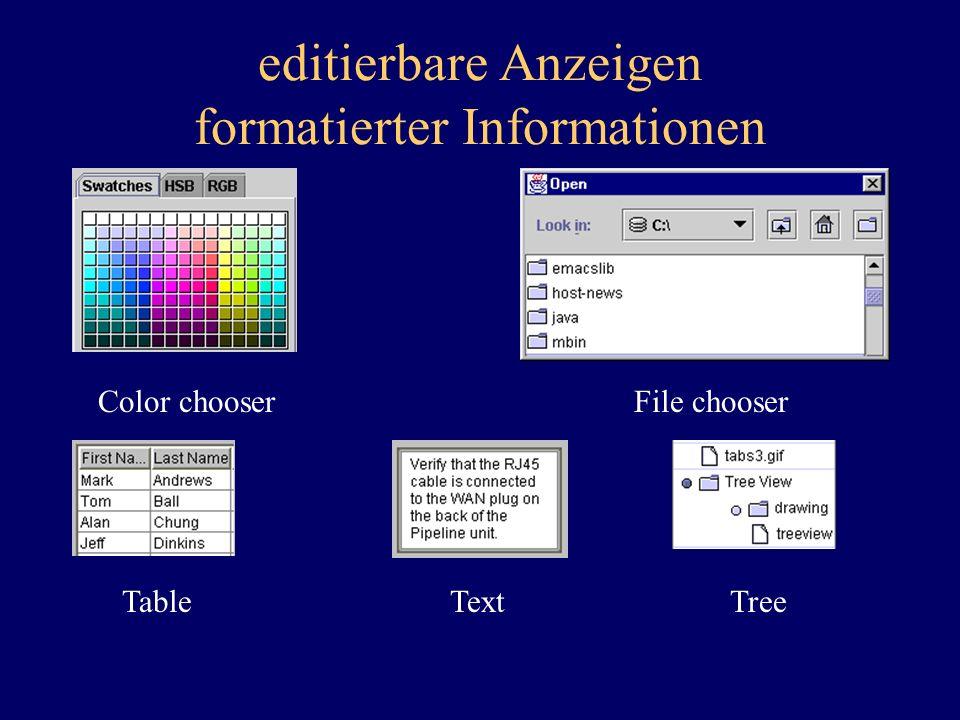 editierbare Anzeigen formatierter Informationen