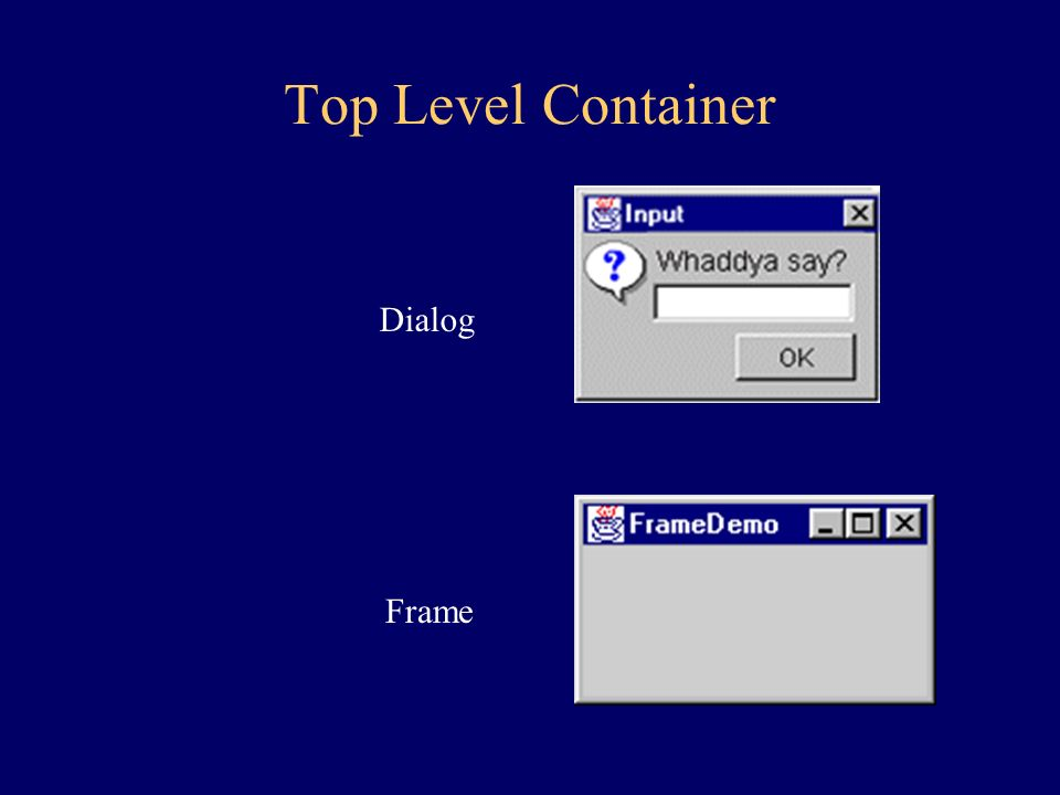 Top Level Container Dialog Frame