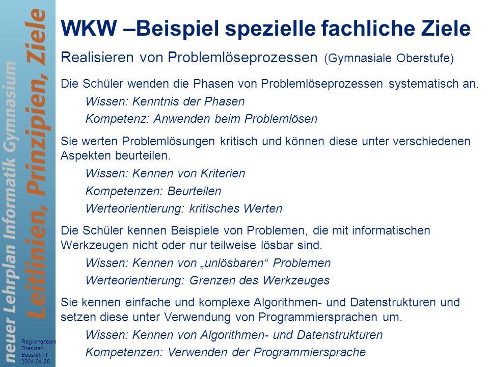 WKW –Beispiel spezielle fachliche Ziele