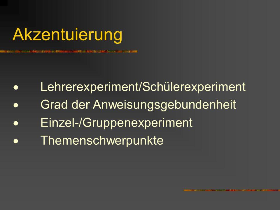 Akzentuierung · Lehrerexperiment/Schülerexperiment