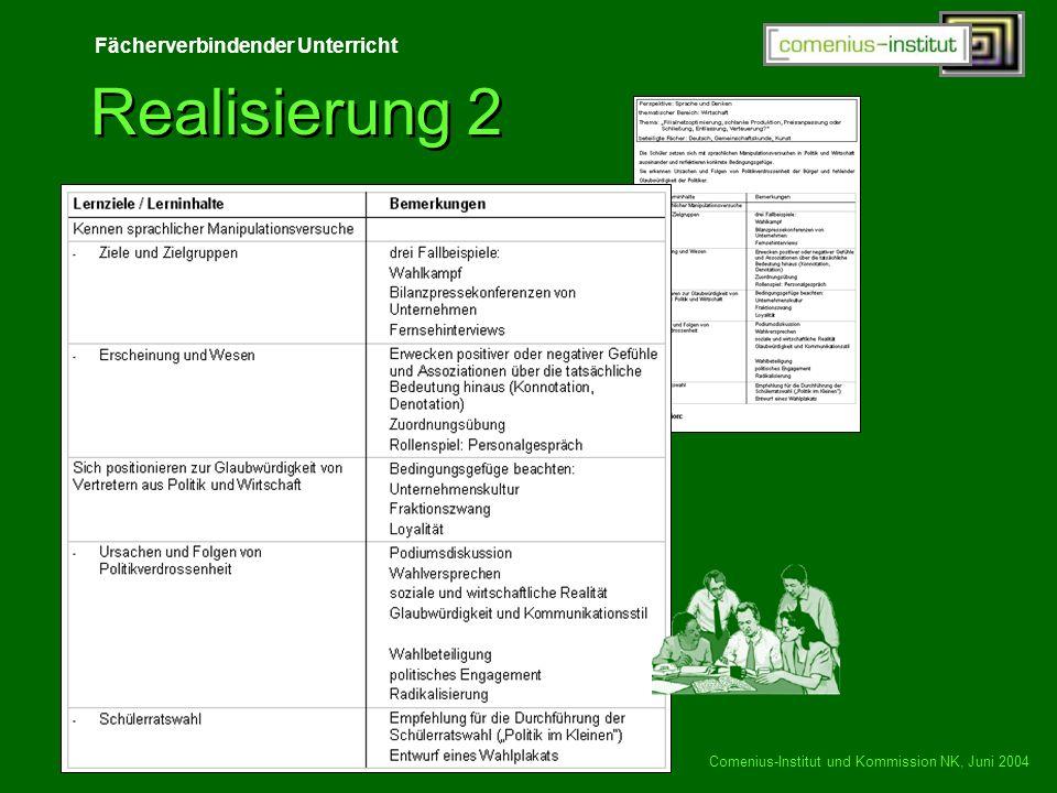 Realisierung 2 Comenius-Institut und Kommission NK, Juni 2004