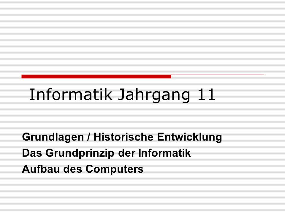 Informatik Jahrgang 11 Grundlagen / Historische Entwicklung