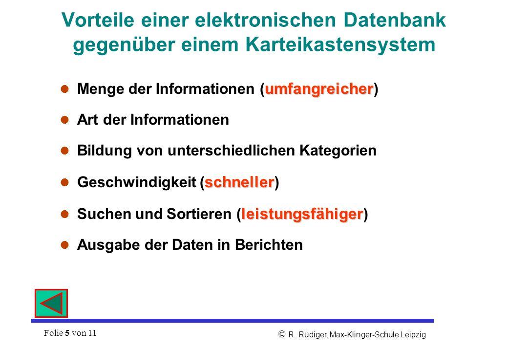 Vorteile einer elektronischen Datenbank gegenüber einem Karteikastensystem