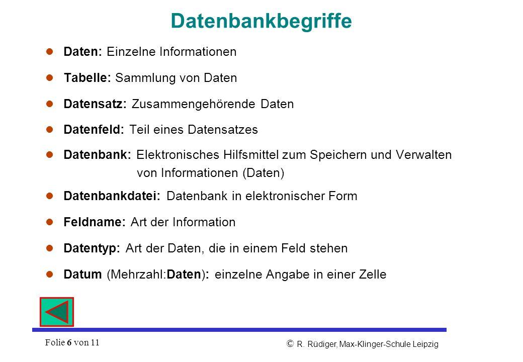 Datenbankbegriffe Daten: Einzelne Informationen