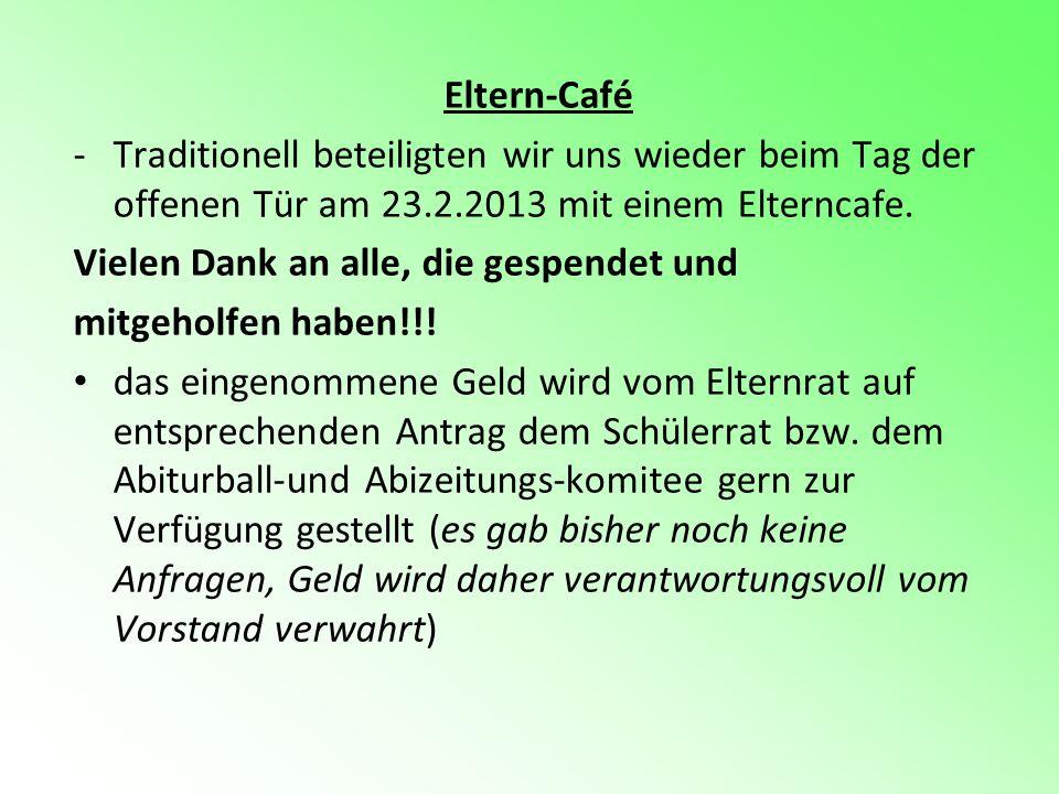 Eltern-Café Traditionell beteiligten wir uns wieder beim Tag der offenen Tür am 23.2.2013 mit einem Elterncafe.