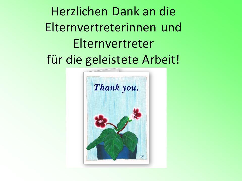 Herzlichen Dank an die Elternvertreterinnen und Elternvertreter für die geleistete Arbeit!