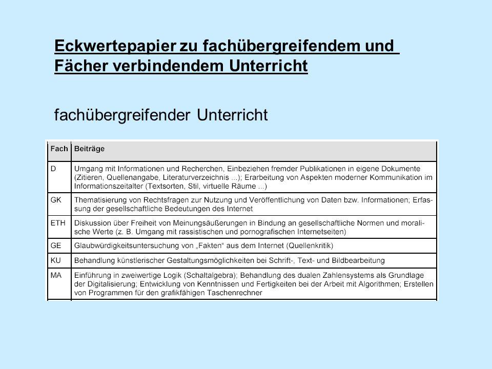 Eckwertepapier zu fachübergreifendem und Fächer verbindendem Unterricht