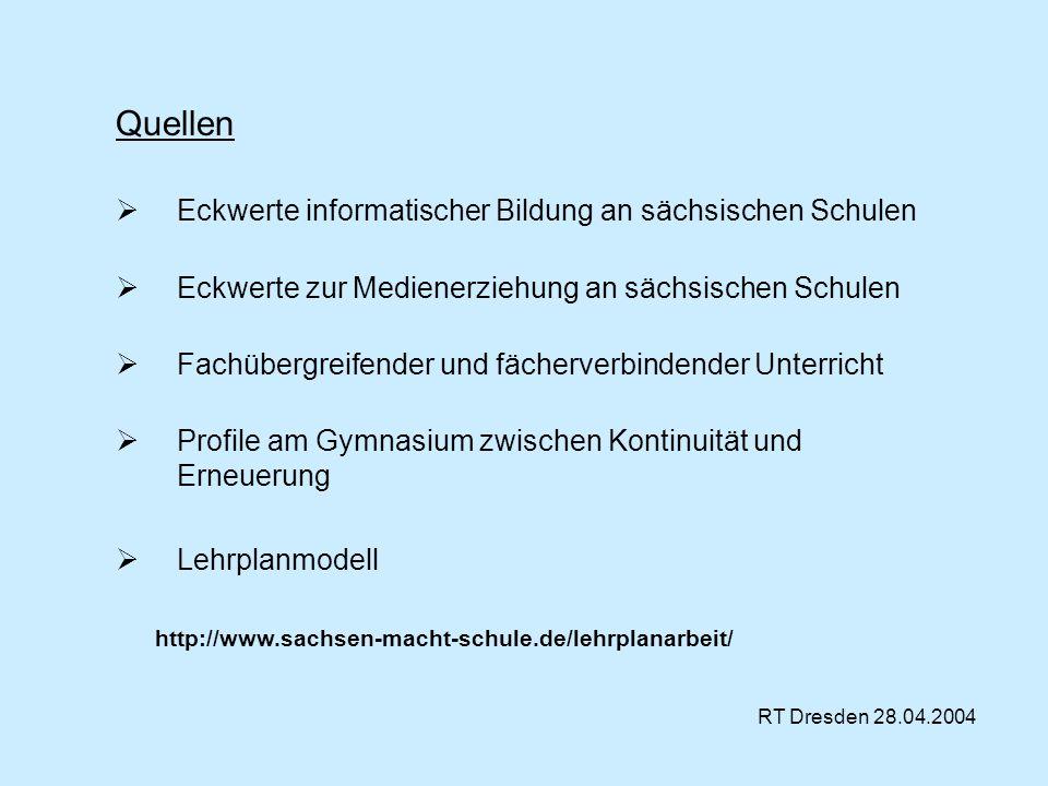 Quellen Eckwerte informatischer Bildung an sächsischen Schulen