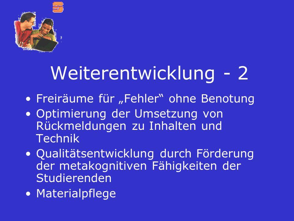 """Weiterentwicklung - 2 Freiräume für """"Fehler ohne Benotung"""