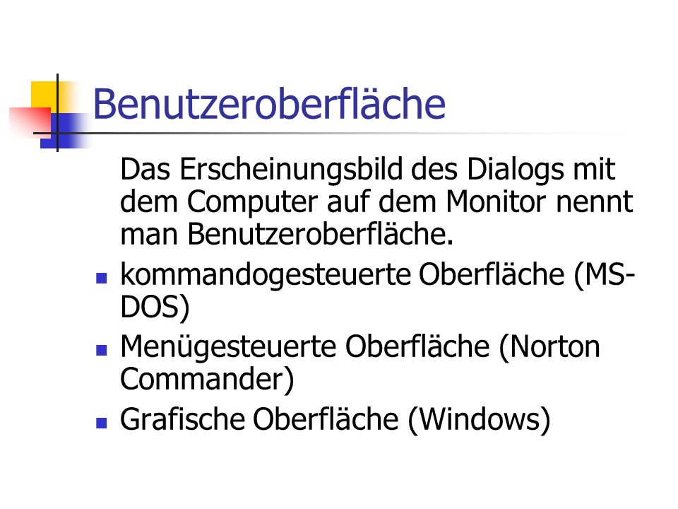 BenutzeroberflächeDas Erscheinungsbild des Dialogs mit dem Computer auf dem Monitor nennt man Benutzeroberfläche.