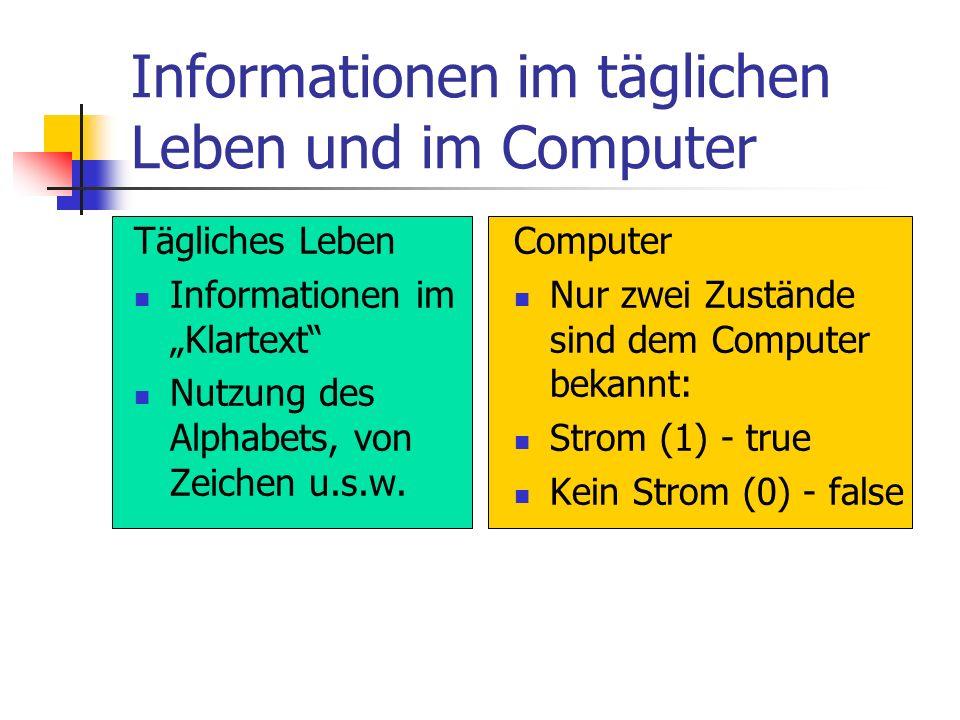 Informationen im täglichen Leben und im Computer