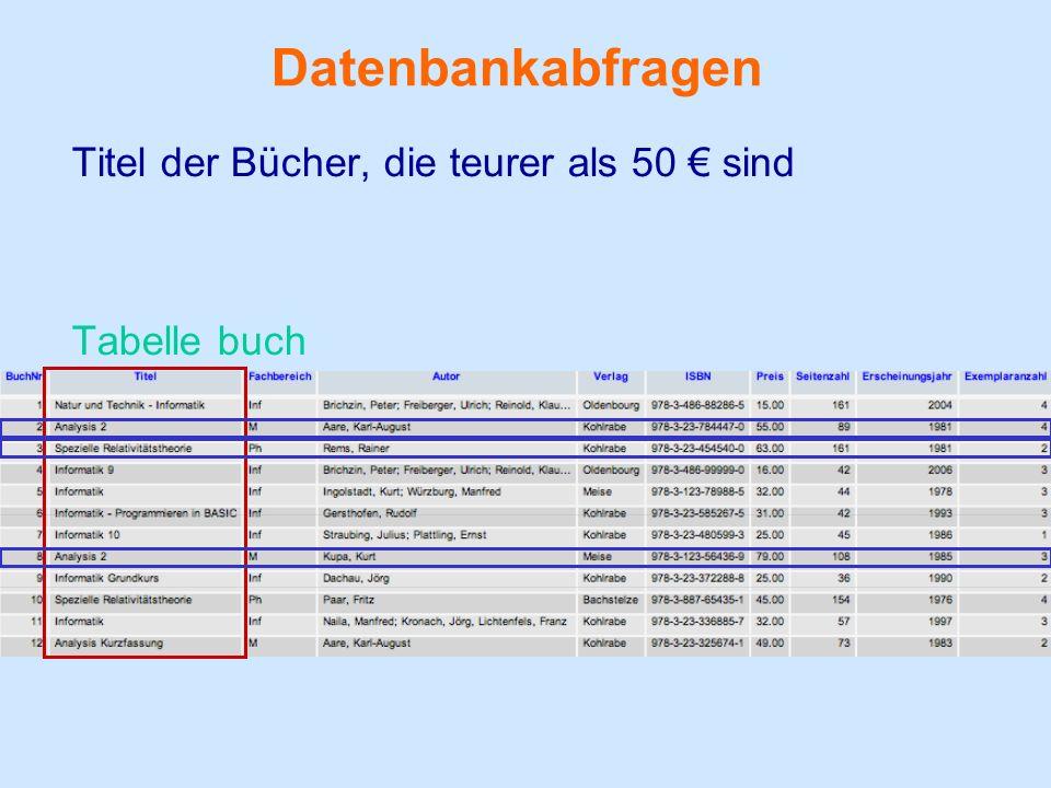 Datenbankabfragen Titel der Bücher, die teurer als 50 € sind