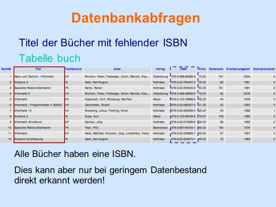 Datenbankabfragen Titel der Bücher mit fehlender ISBN Tabelle buch