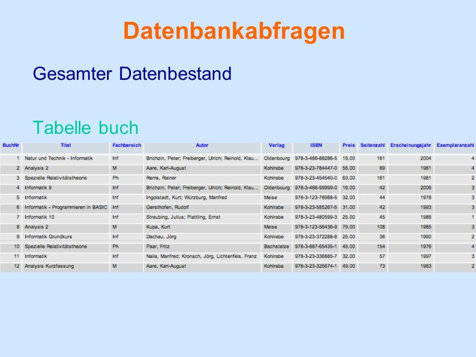 Datenbankabfragen Gesamter Datenbestand Tabelle buch