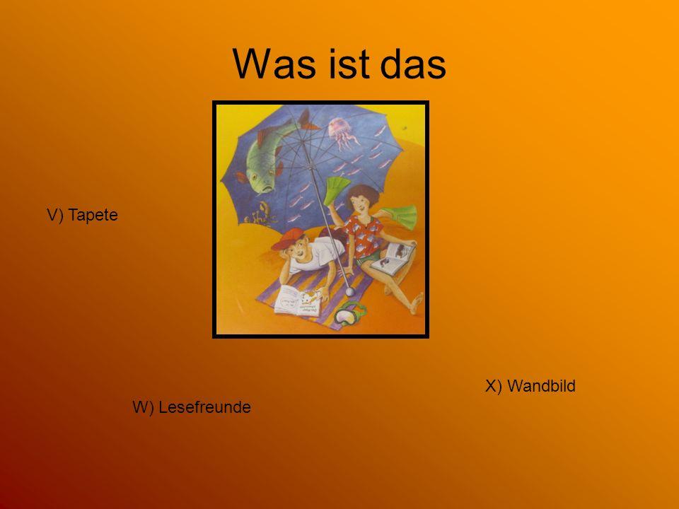 Was ist das V) Tapete X) Wandbild W) Lesefreunde
