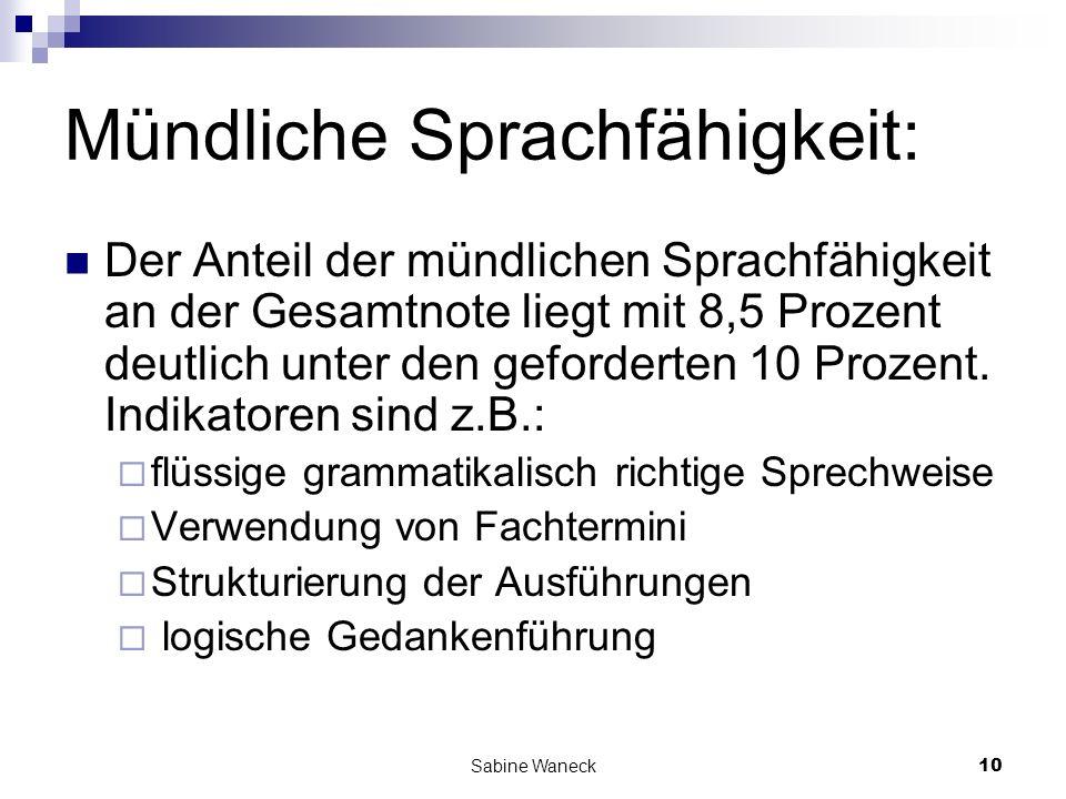 Mündliche Sprachfähigkeit: