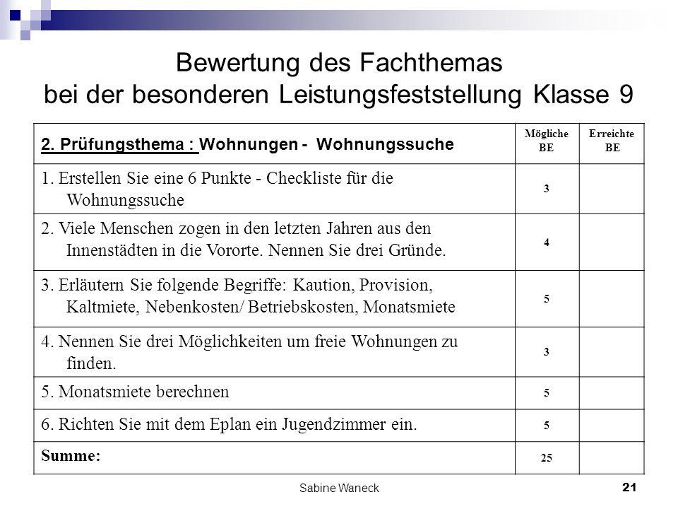 Bewertung des Fachthemas bei der besonderen Leistungsfeststellung Klasse 9