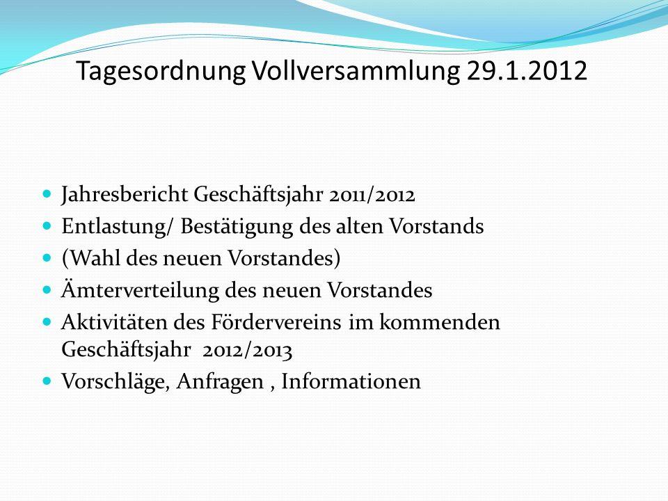 Tagesordnung Vollversammlung 29.1.2012