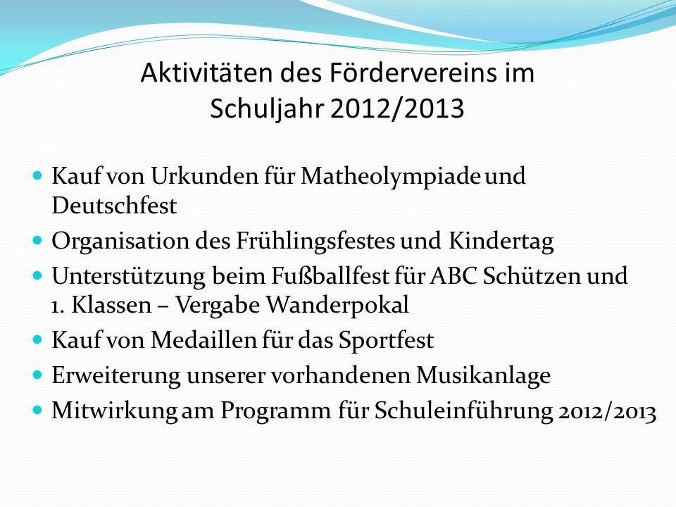 Aktivitäten des Fördervereins im Schuljahr 2012/2013