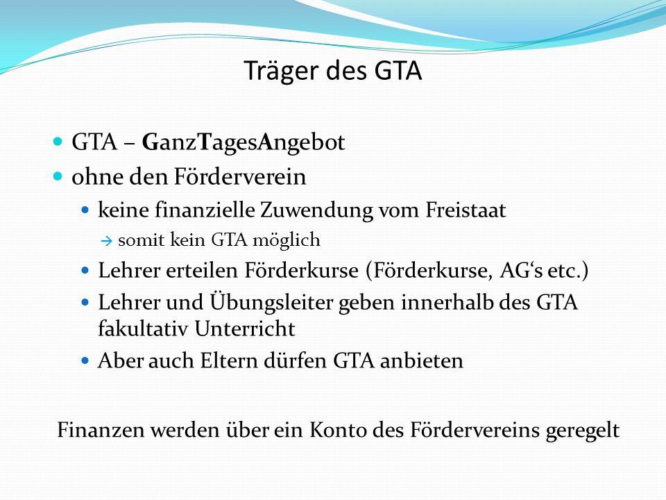 Träger des GTA GTA – GanzTagesAngebot ohne den Förderverein