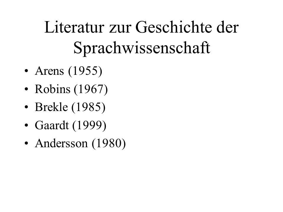 Literatur zur Geschichte der Sprachwissenschaft