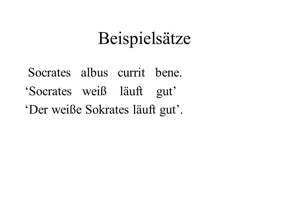 Beispielsätze Socrates albus currit bene. 'Socrates weiß läuft gut'