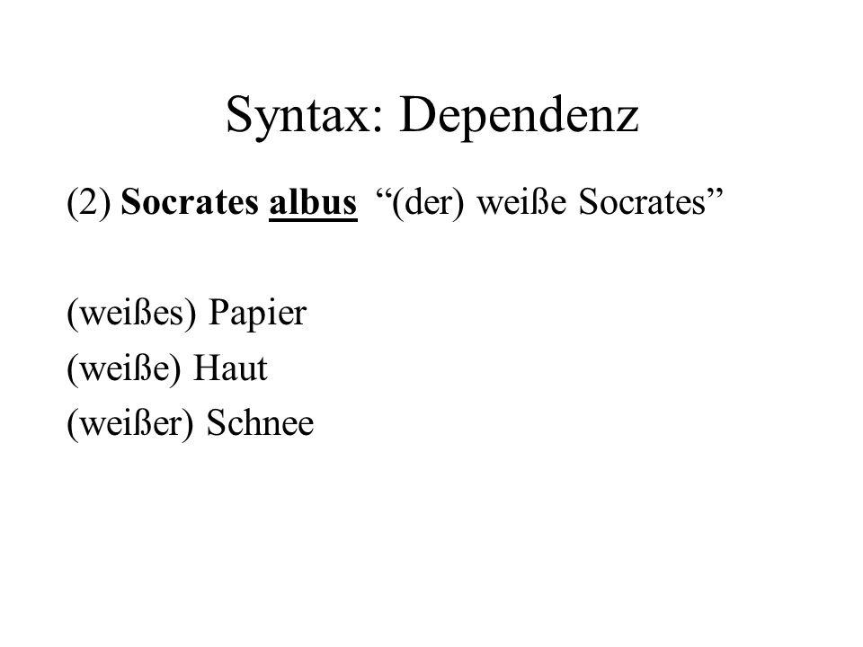 Syntax: Dependenz (2) Socrates albus (der) weiße Socrates