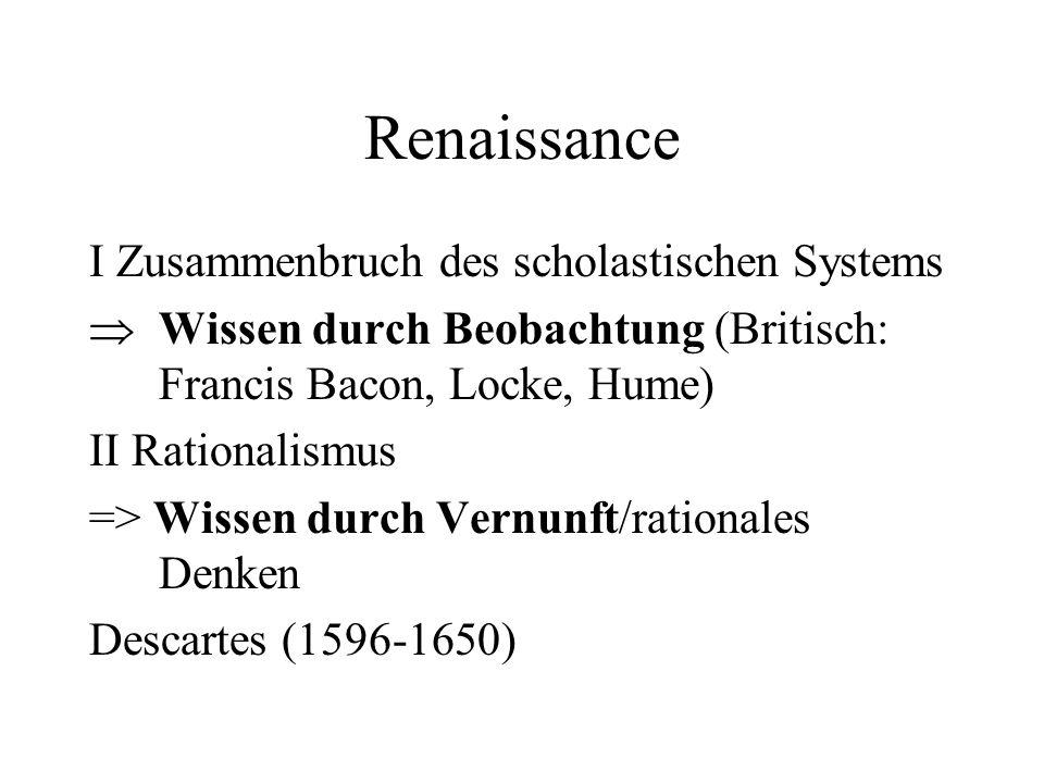 Renaissance I Zusammenbruch des scholastischen Systems