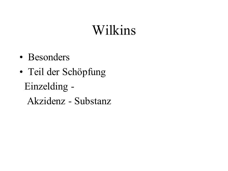 Wilkins Besonders Teil der Schöpfung Einzelding - Akzidenz - Substanz