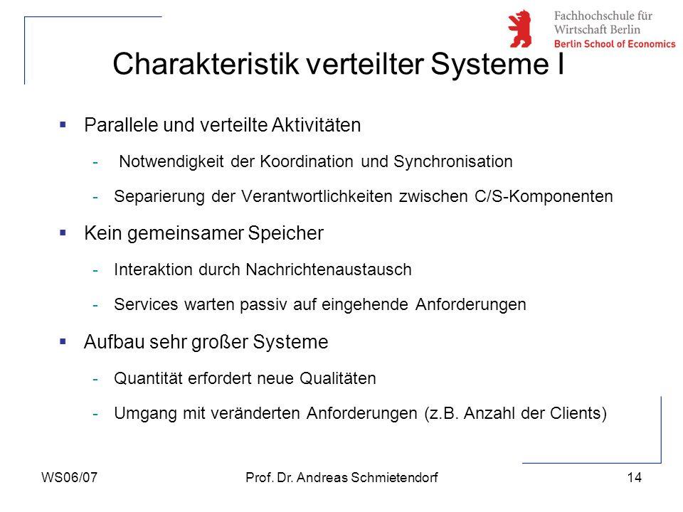 Charakteristik verteilter Systeme I