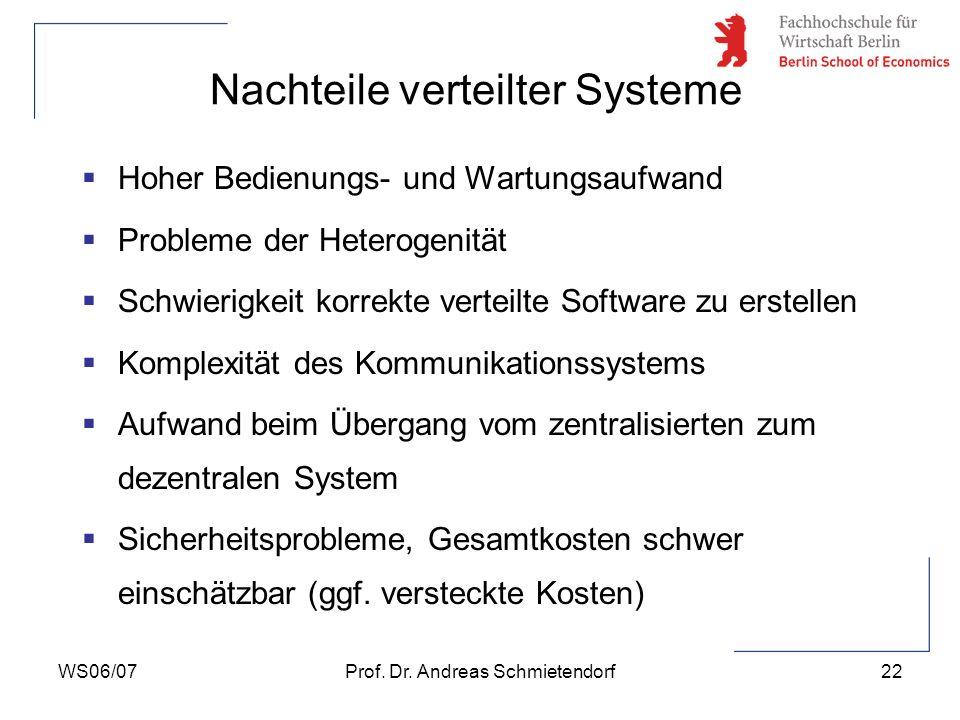 Nachteile verteilter Systeme