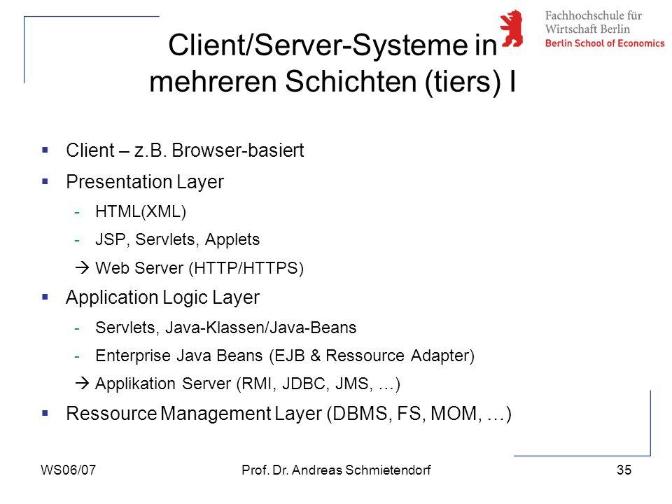 Client/Server-Systeme in mehreren Schichten (tiers) I